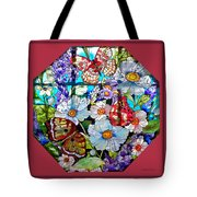 Butterfly Octagon Stained Glass Window Tote Bag