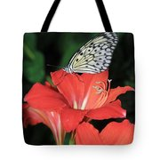 Butterfly On A Lily Tote Bag