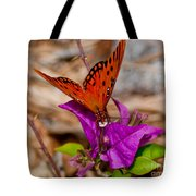 Butterfly On Bouganvilla Tote Bag