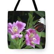 Butterfly On Pink Lillies Tote Bag