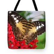 Butterfly On Red Flower Tote Bag