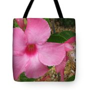butterfly on the Mandevilla Tote Bag