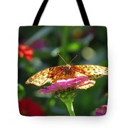 Fritillary Butterfly On Zinnia Tote Bag