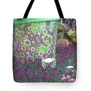 Butterfly Park Garden Painted Green Theme Tote Bag