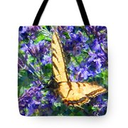 Butterfly With Purple Flowers 3 Tote Bag