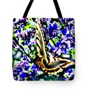 Butterfly With Purple Flowers 4 Tote Bag