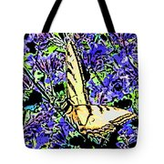 Butterfly With Purple Flowers Tote Bag
