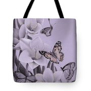 Butterflies In A Field Of Freesias Tote Bag