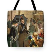 Buying Flowers, 19th Century Tote Bag