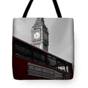 Bw Big Ben And Red London Bus Tote Bag