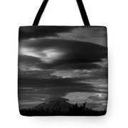 Bw Clouds Over Mt Adams Tote Bag