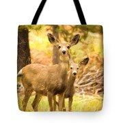 By Mama's Side - Photo Manipulation - Mule Deer - Casper Mountain - Casper Wyoming Tote Bag