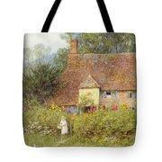 By The Cottage Gate Wc On Paper Tote Bag