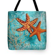 By The Sea Shore Original Coastal Painting Colorful Starfish Art By Megan Duncanson Tote Bag by Megan Duncanson