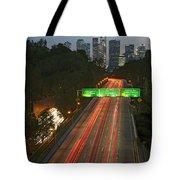 Ca 110 Pasadena Freeway Downtown Los Angeles At Night With Car Lights Streaking_2 Tote Bag