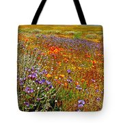 Ca Poppies And Goldfields And Lacy Phacelia And Sage In Antelope Valley Ca Poppy Reserve-california Tote Bag