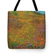 Ca Poppies And Goldfields And Lacy Phacelia In  Antelope Valley Ca Poppy Reserve-california  Tote Bag