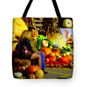 Cabbage Patch Kids - Giant Pumpkins - Marche Atwater Montreal Market Scene Art Carole Spandau Tote Bag