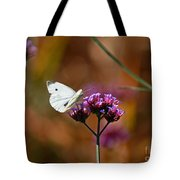 Cabbage White Butterfly In Fall Tote Bag