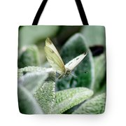Cabbage White Butterfly In Flight Tote Bag