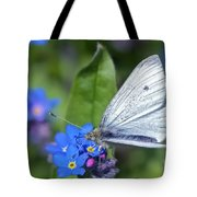 Cabbage White Butterfly On Forget-me-not Tote Bag