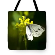 Cabbage White Butterfly On Yellow Flower Tote Bag