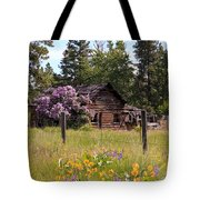 Cabin And Wildflowers Tote Bag