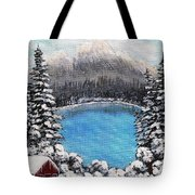 Cabin By The Lake - Winter Tote Bag by Barbara Griffin