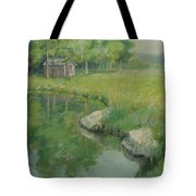Cabin By The Pond Tote Bag