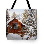 Cabin In Snow Tote Bag