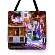 Cable Car At The Powell Street Turnaround Tote Bag