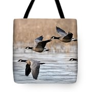 Cackling Geese Flying Tote Bag