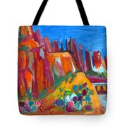 Cacti With Red Rocks And Rr Trestle Tote Bag