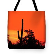 Cactus Against A Blazing Sunset Tote Bag