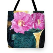 Cactus And The Pink Flower Tote Bag