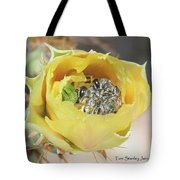 Cactus Flower With Ball Of Bees Tote Bag