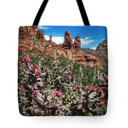Cactus Flowers And Red Rocks Tote Bag
