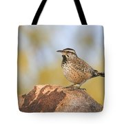 Cactus Wren On Rock Tote Bag