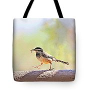 Cactus Wren With Worm Tote Bag
