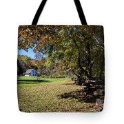 Cades Cove House And Fall Colors Tote Bag