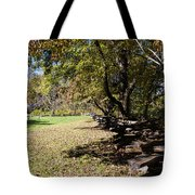 Cades Cove House And Split Rail Fence Tote Bag
