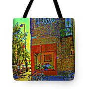 Cafe Window Corner Rue Fabre Near The Bicycle Stand Art Of Montreal Summer Street Scene  Tote Bag