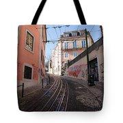 Calcada Da Gloria Street In Lisbon Tote Bag