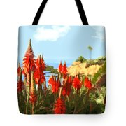 California Coastline With Red Hot Poker Plants Tote Bag