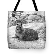 California Ground Squirrel In Black And White Tote Bag