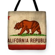 California State Flag Art On Worn Canvas Tote Bag by Design Turnpike
