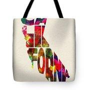 California Typographic Watercolor Map Tote Bag