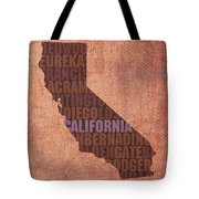 California Word Art State Map On Canvas Tote Bag