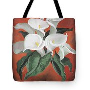 Calla Lilies On A Red Background Tote Bag