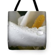 Calla Lily With Raindrops Tote Bag